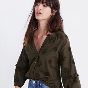 NEW Madewell | Embroidered Bubble Sleeve Blouse